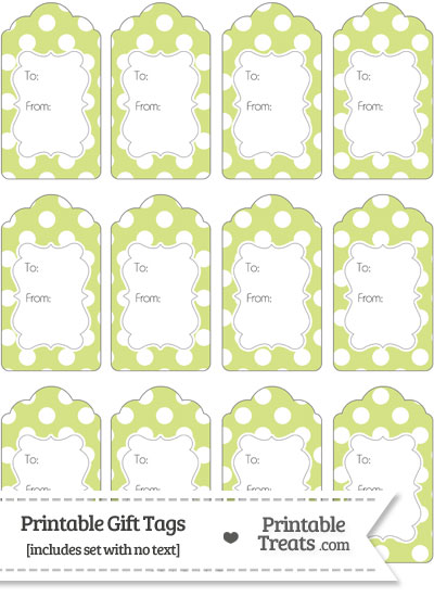 Pastel Yellow Green Polka Dot Gift Tags from PrintableTreats.com