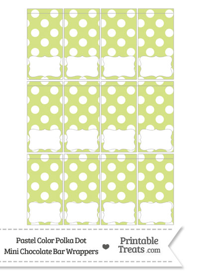 Pastel Yellow Green Polka Dot Mini Chocolate Bar Wrappers from PrintableTreats.com