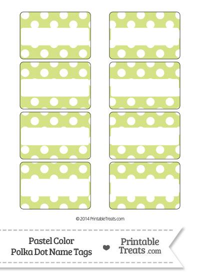 Pastel Yellow Green Polka Dot Name Tags from PrintableTreats.com