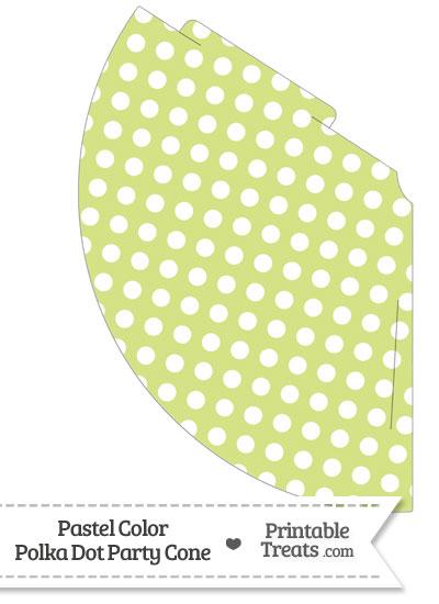 Pastel Yellow Green Polka Dot Party Cone from PrintableTreats.com