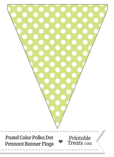 Pastel Yellow Green Polka Dot Pennant Banner Flag from PrintableTreats.com