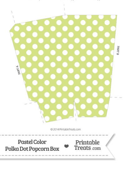 Pastel Yellow Green Polka Dot Popcorn Box from PrintableTreats.com