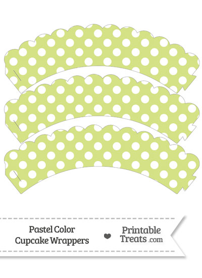 Pastel Yellow Green Polka Dot Scalloped Cupcake Wrappers from PrintableTreats.com