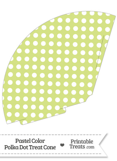 Pastel Yellow Green Polka Dot Treat Cone from PrintableTreats.com