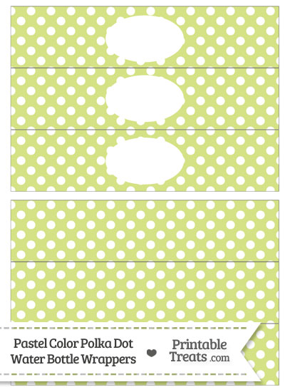 Pastel Yellow Green Dot Water Bottle Wrappers from PrintableTreats.com