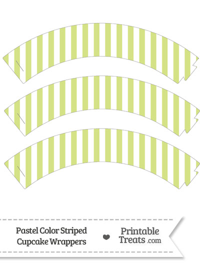 Pastel Yellow Green Striped Cupcake Wrappers from PrintableTreats.com