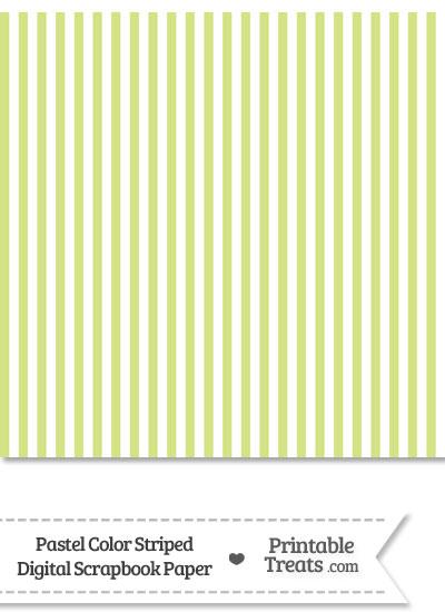 Pastel Yellow Green Striped Digital Scrapbook Paper from PrintableTreats.com