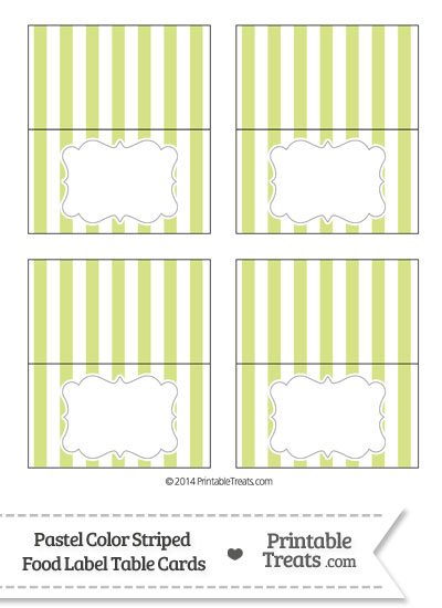 Pastel Yellow Green Striped Food Labels from PrintableTreats.com