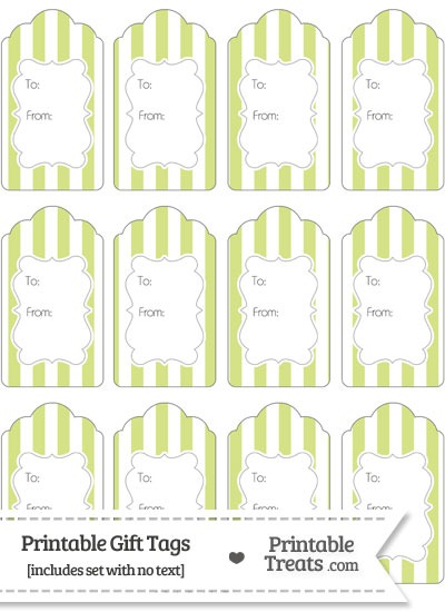 Pastel Yellow Green Striped Gift Tags from PrintableTreats.com