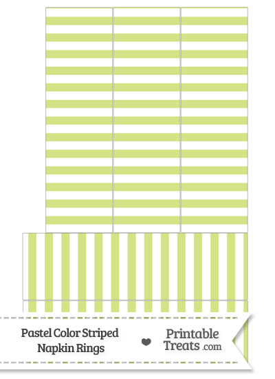 Pastel Yellow Green Striped Napkin Rings from PrintableTreats.com