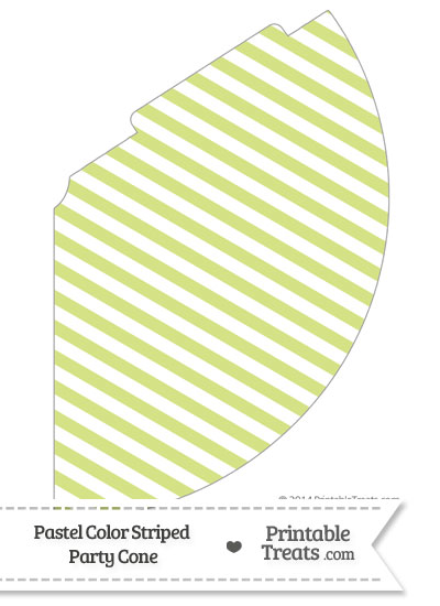 Pastel Yellow Green Striped Party Cone from PrintableTreats.com
