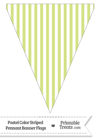 Pastel Yellow Green Striped Pennant Banner Flag from PrintableTreats.com