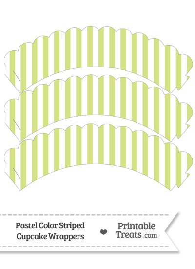 Pastel Yellow Green Striped Scalloped Cupcake Wrappers from PrintableTreats.com