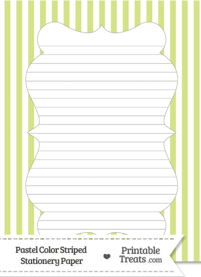 Pastel Yellow Green Striped Stationery Paper from PrintableTreats.com