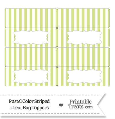 Pastel Yellow Green Striped Treat Bag Toppers from PrintableTreats.com