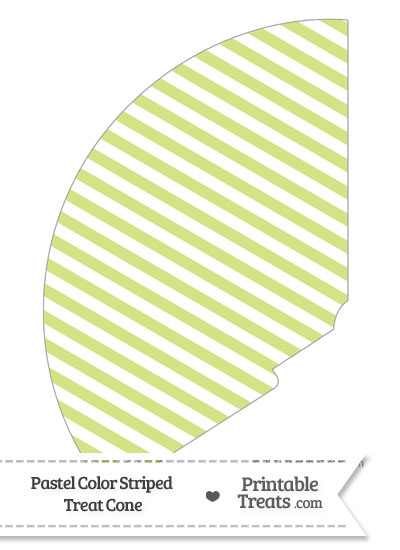 Pastel Yellow Green Striped Treat Cone from PrintableTreats.com