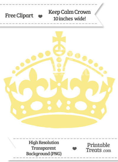 Pastel Yellow Keep Calm Crown Clipart from PrintableTreats.com