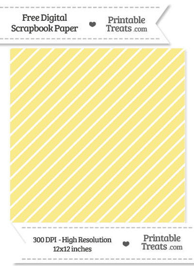 Pastel Yellow Large Diagonal Candy Striped Digital Paper from PrintableTreats.com
