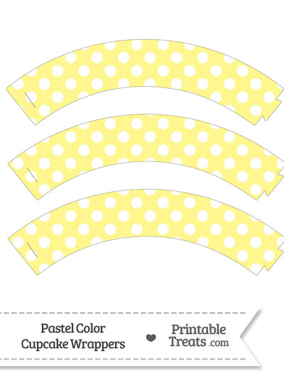 Pastel Yellow Polka Dot Cupcake Wrappers from PrintableTreats.com