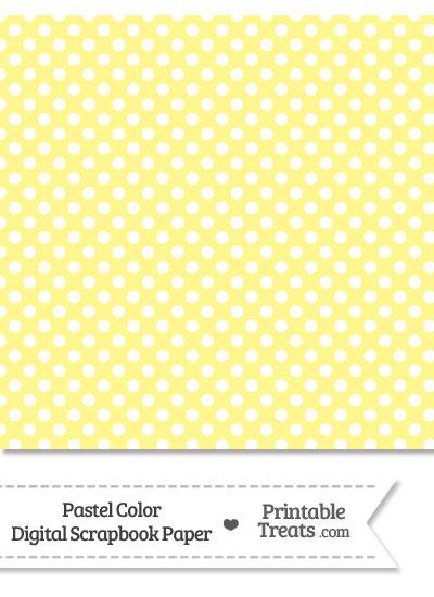 Pastel Yellow Polka Dot Digital Scrapbook Paper from PrintableTreats.com