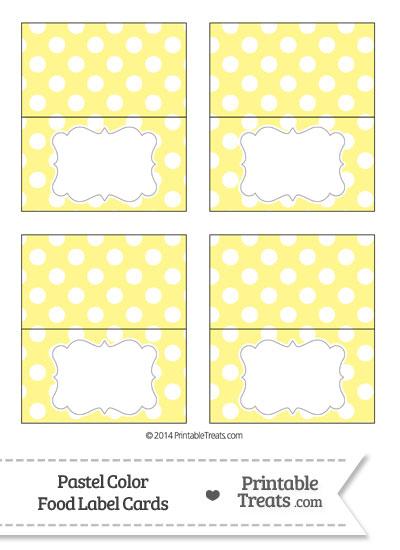 Pastel Yellow Polka Dot Food Labels from PrintableTreats.com
