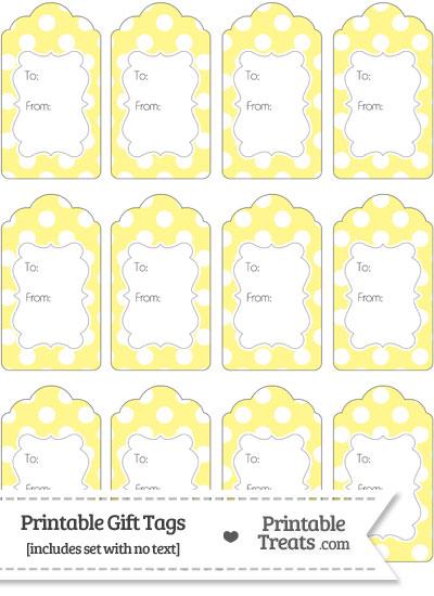 Pastel Yellow Polka Dot Gift Tags from PrintableTreats.com