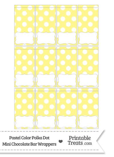 Pastel Yellow Polka Dot Mini Chocolate Bar Wrappers from PrintableTreats.com