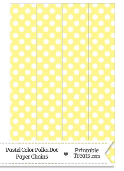Pastel Yellow Polka Dot Paper Chains from PrintableTreats.com