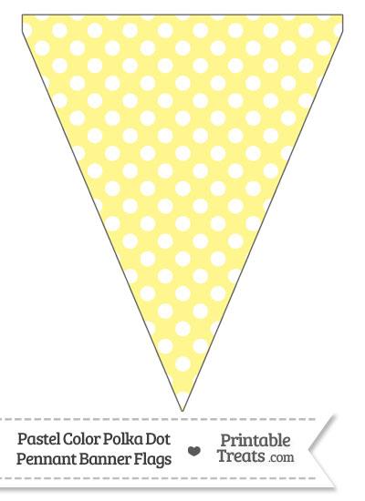Pastel Yellow Polka Dot Pennant Banner Flag from PrintableTreats.com
