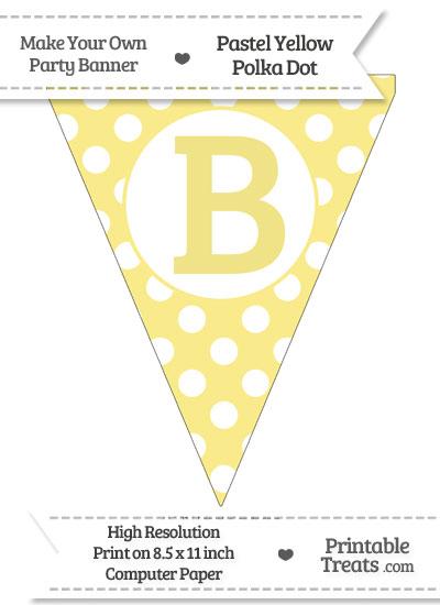 Pastel Yellow Polka Dot Pennant Flag Capital Letter B from PrintableTreats.com