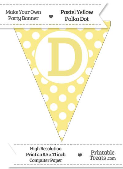 Pastel Yellow Polka Dot Pennant Flag Capital Letter D from PrintableTreats.com