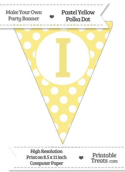 Pastel Yellow Polka Dot Pennant Flag Capital Letter I from PrintableTreats.com