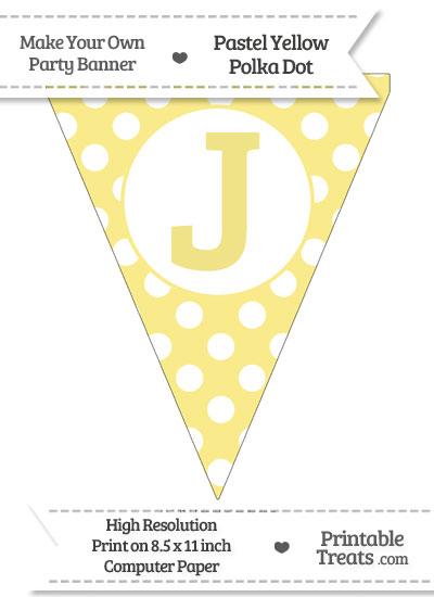 Pastel Yellow Polka Dot Pennant Flag Capital Letter J from PrintableTreats.com