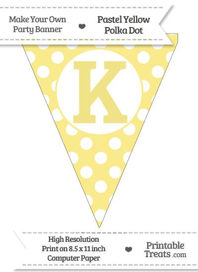Pastel Yellow Polka Dot Pennant Flag Capital Letter K from PrintableTreats.com