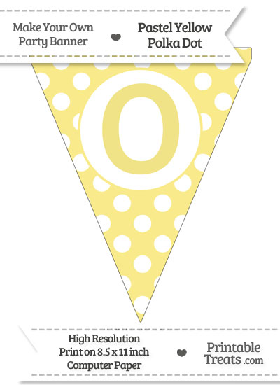 Pastel Yellow Polka Dot Pennant Flag Capital Letter O from PrintableTreats.com
