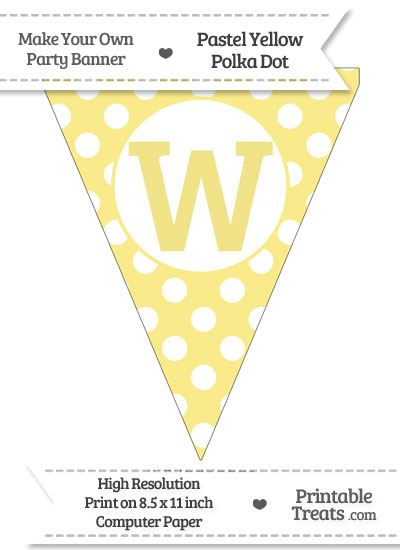 Pastel Yellow Polka Dot Pennant Flag Capital Letter W from PrintableTreats.com