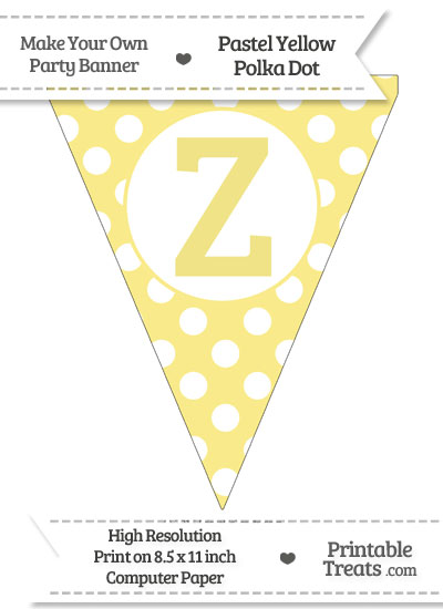 Pastel Yellow Polka Dot Pennant Flag Capital Letter Z from PrintableTreats.com
