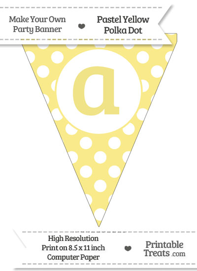 Pastel Yellow Polka Dot Pennant Flag Lowercase Letter A from PrintableTreats.com
