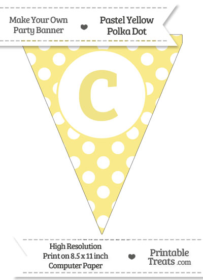 Pastel Yellow Polka Dot Pennant Flag Lowercase Letter C from PrintableTreats.com