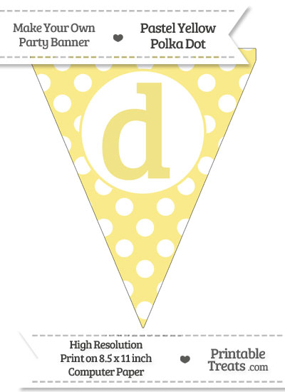 Pastel Yellow Polka Dot Pennant Flag Lowercase Letter D from PrintableTreats.com