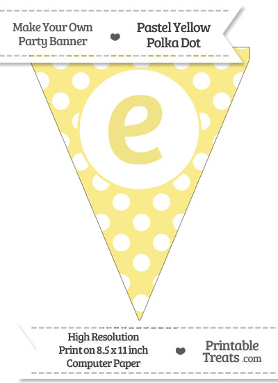Pastel Yellow Polka Dot Pennant Flag Lowercase Letter E from PrintableTreats.com