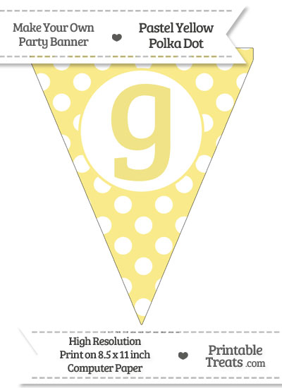 Pastel Yellow Polka Dot Pennant Flag Lowercase Letter G from PrintableTreats.com