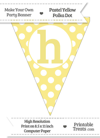 Pastel Yellow Polka Dot Pennant Flag Lowercase Letter H from PrintableTreats.com