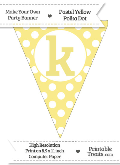Pastel Yellow Polka Dot Pennant Flag Lowercase Letter K from PrintableTreats.com
