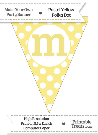 Pastel Yellow Polka Dot Pennant Flag Lowercase Letter M from PrintableTreats.com