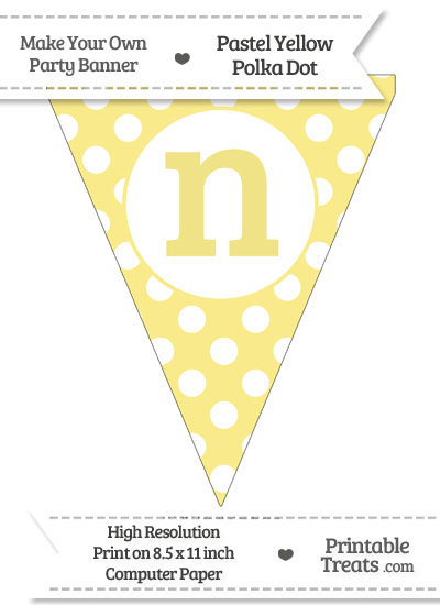 Pastel Yellow Polka Dot Pennant Flag Lowercase Letter N from PrintableTreats.com