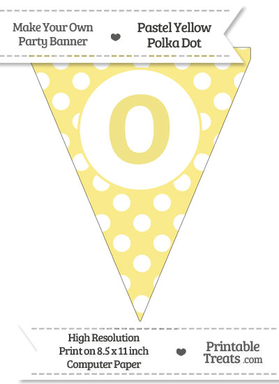 Pastel Yellow Polka Dot Pennant Flag Lowercase Letter O from PrintableTreats.com