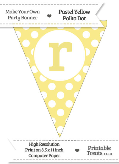 Pastel Yellow Polka Dot Pennant Flag Lowercase Letter R from PrintableTreats.com