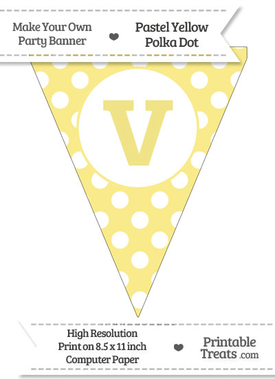 Pastel Yellow Polka Dot Pennant Flag Lowercase Letter V from PrintableTreats.com