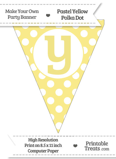 Pastel Yellow Polka Dot Pennant Flag Lowercase Letter Y from PrintableTreats.com